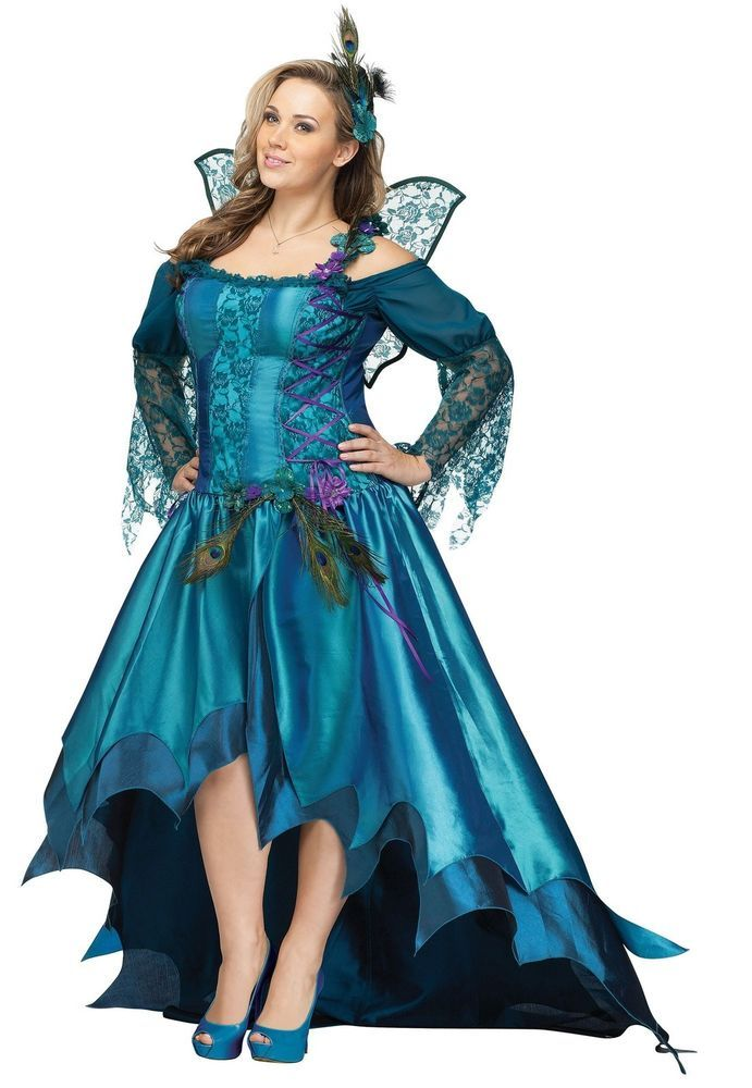 midnight peacock feather gown dress masquerade adult womens plus size costume funworld dress - Masquerade Costumes Halloween