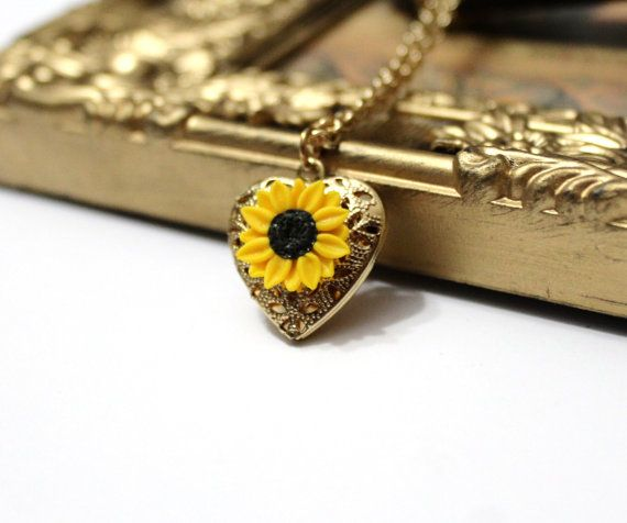 Sunflower Heart locket necklace Gold Sunflower by NikushJewelryArt
