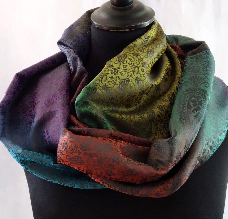 Snood femme couleur multicolore vert, or et bordeaux chatoyant en soie mélangée polyester : Echarpe, foulard, cravate par akka-accessoires