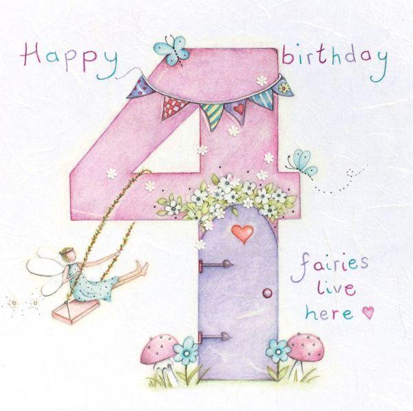 4th Birthday Card Girl Fairy Birthday Card Happy Birthday Children S Birthday Card Daughter Granddaughter Niece Goddaughter Card Girl Birthday Cards Birthday Card Drawing Kids Birthday Cards