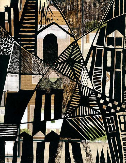 """""""André de Miranda, Cidade 5,  woodcut printed on real estate advertising"""" I like this. The disjointed images behind the black appeal to me. The life of the work may be short though. S"""