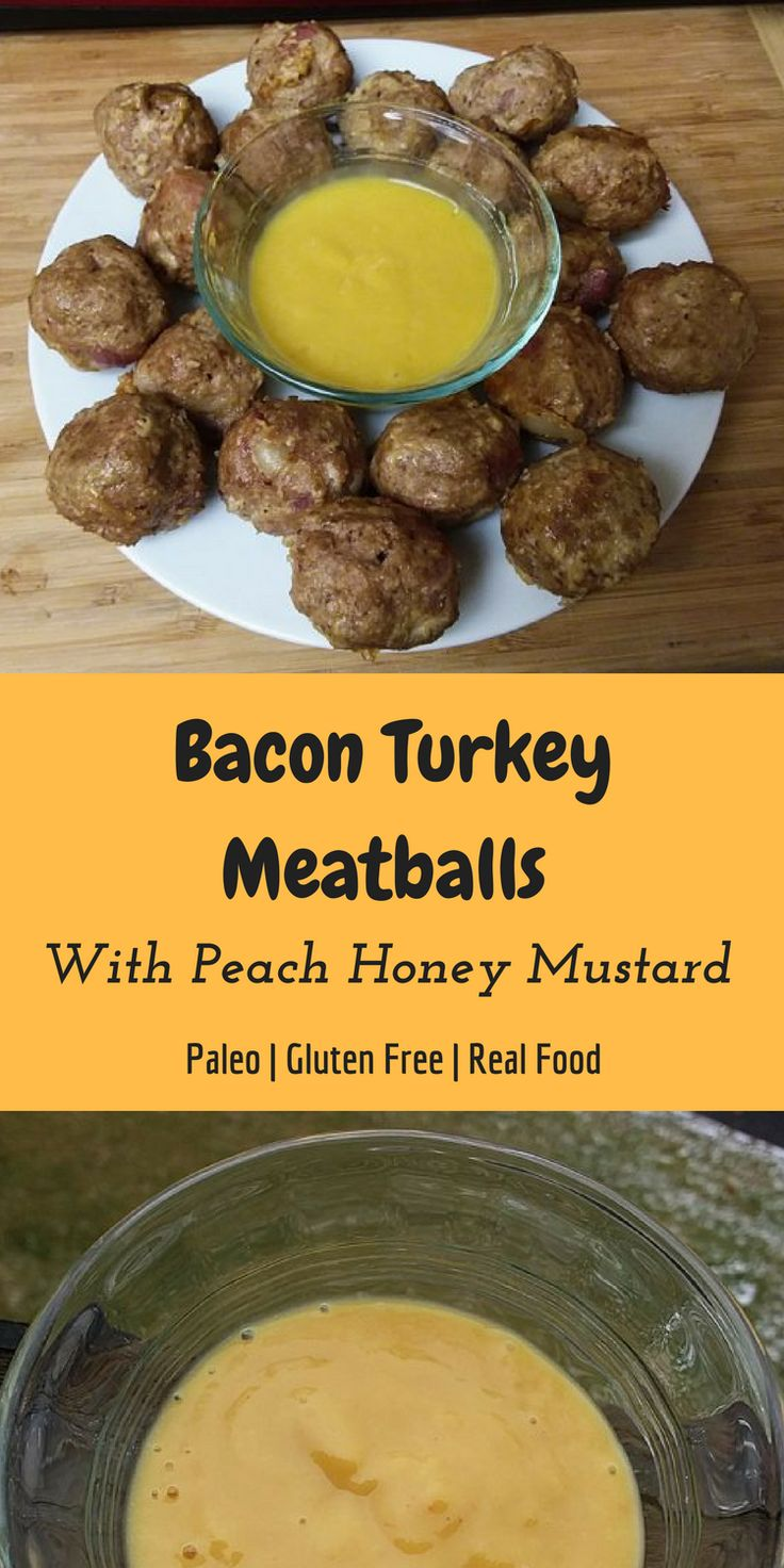 Looking for a real food snack for game day? These Bacon Turkey Meatballs with Peach Honey Mustard Sauce is what you're looking for! Her's how to make them.