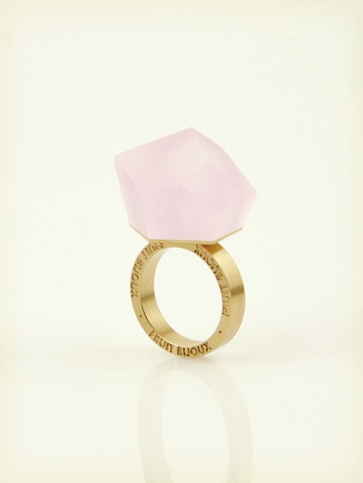 Fruit Bijoux, VU, gold ring, pastel pink. To download high or low resolution product images view Mondrianista.com (editorial use only).