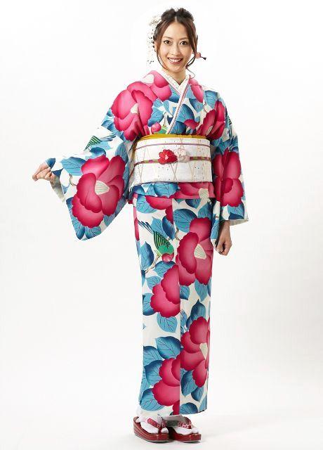 """Large camellia""-pattern kimono, by designers Furifu, Japan. Image via Pinterest"