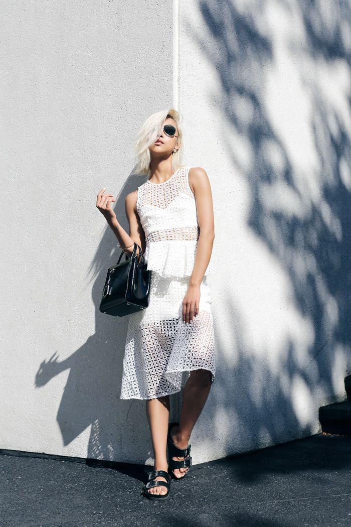 that eyelet dress is getting some play. dig it. NYC. #TheHautePursuit
