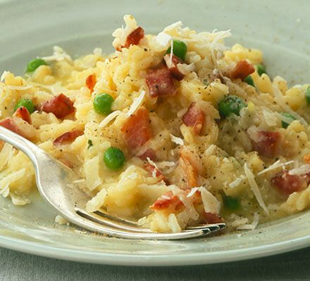 Easy risotto with bacon & peas  Use pancetta instead of bacon and add garlic and chilli flakes to liven it up a bit!