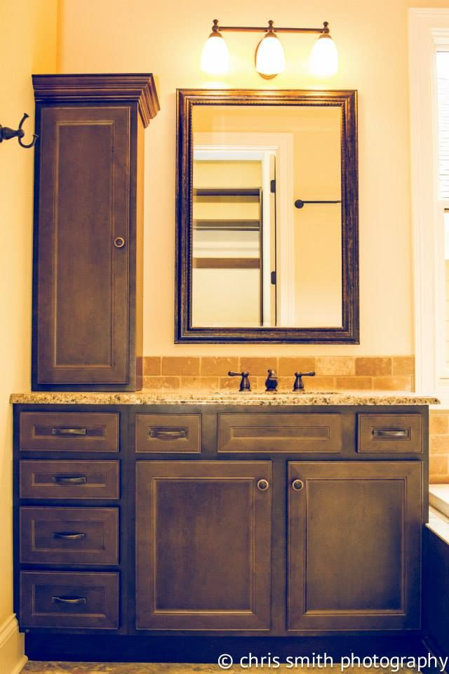 homecrest cabinetry jordan maple buckboard finish master bath tub surround his and her vanity designed by ben lee of kitchen sales knoxville tn