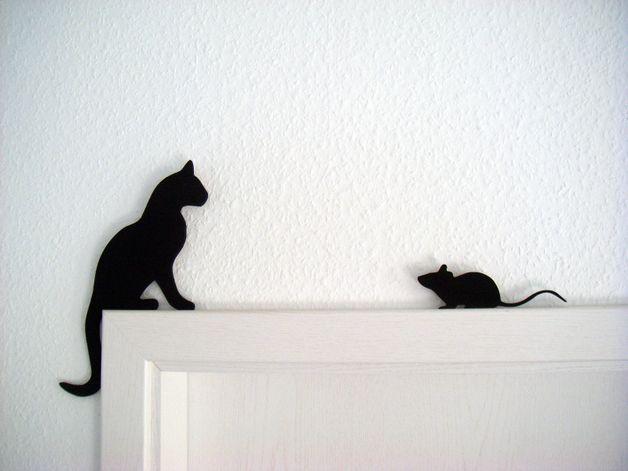 Deko-Objekte - Kantenhocker Katz und Maus - ein Designerstück von artdetail bei DaWanda 9,90 €
