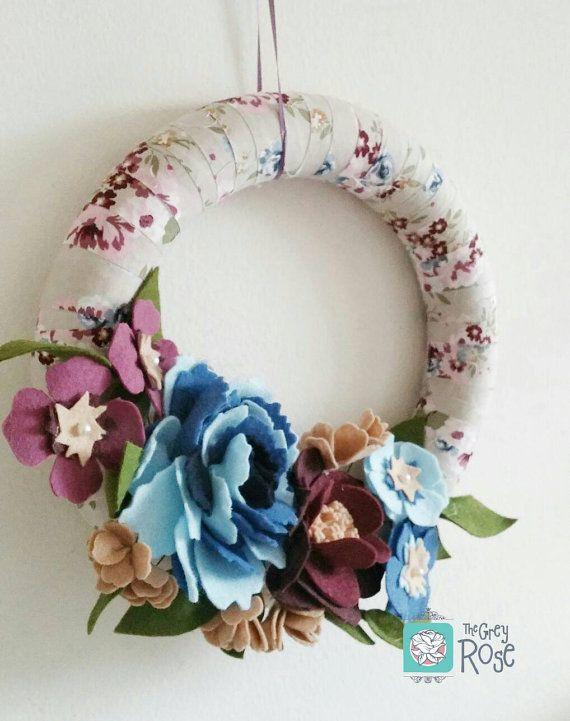 Felt Flower Wreath - Spring Wreaths For Front Door - Spring Wreath--Interchangeable Wreath - Elegant Wreath - Wrapped Wreath