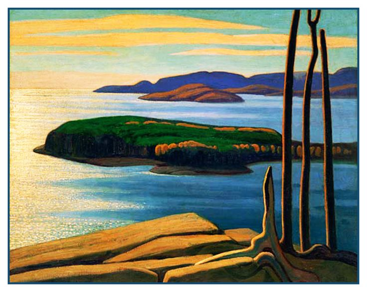 Lawren Harris's Afternoon Sun Lake Superior Ontario Canada Landscape Counted Cross Stitch or Counted Needlepoint Pattern