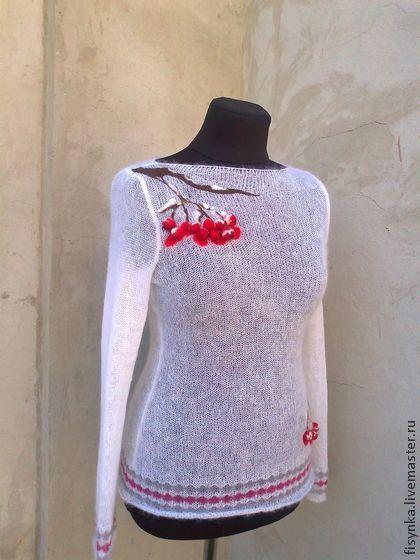 свитерок вязаный белоснежный - белый,свитер с рисунком,свитер женский