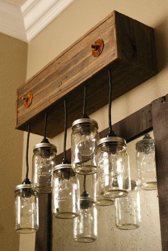 Mason jar fixture with reclaimed wood and 5 pendants r - Mason jar bathroom light fixture ...