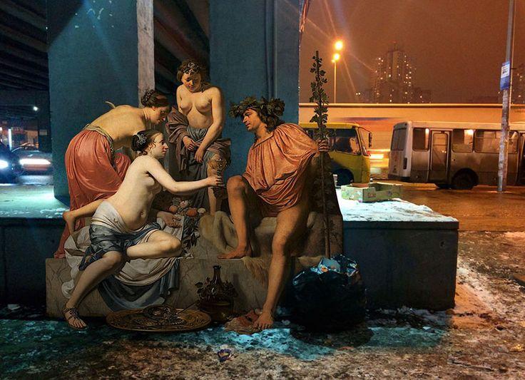 Los dioses de las pinturas clásicas se van de juerga por las calles de Kiev, Ucrania
