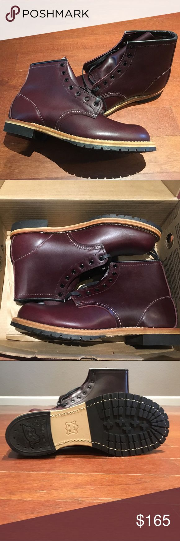 Red Wing Boots - Beckman Boots. Real Leather Red Wing Boots - Beckman Boots. Black cherry  color. Real Leather. Size 8. True to size. Lace closure. Round plain toe, topstitching, firm foot bed for stability.  Has a grip lug sole. Black laces. IMPORTED! Super high-quality. Brand new never been worn. These will only be on this website for two weeks. Red Wing Shoes Shoes Boots