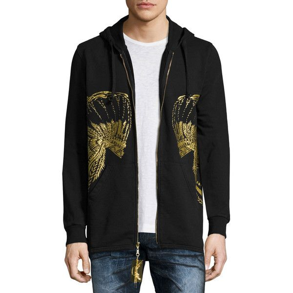 Robin's Jeans Gold Headdress Zip-Up Hoodie ($265) ❤ liked on Polyvore featuring men's fashion, men's clothing, men's hoodies, black, mens zip up hoodies, mens patterned hoodies, mens sweatshirts and hoodies and mens hoodies