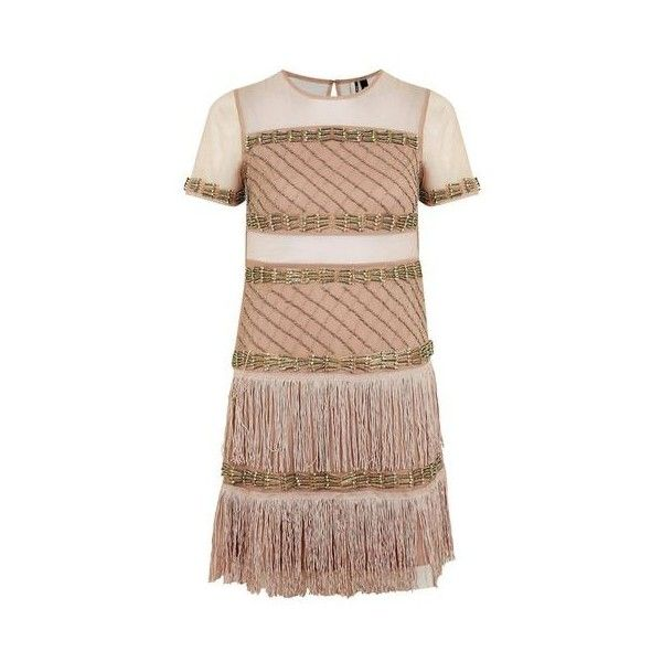 TopShop Petite Bead Fringe Shift Dress ($230) ❤ liked on Polyvore featuring dresses, nude, going out dresses, fringed dresses, beaded party dresses, petite shift dress and petite cocktail dress