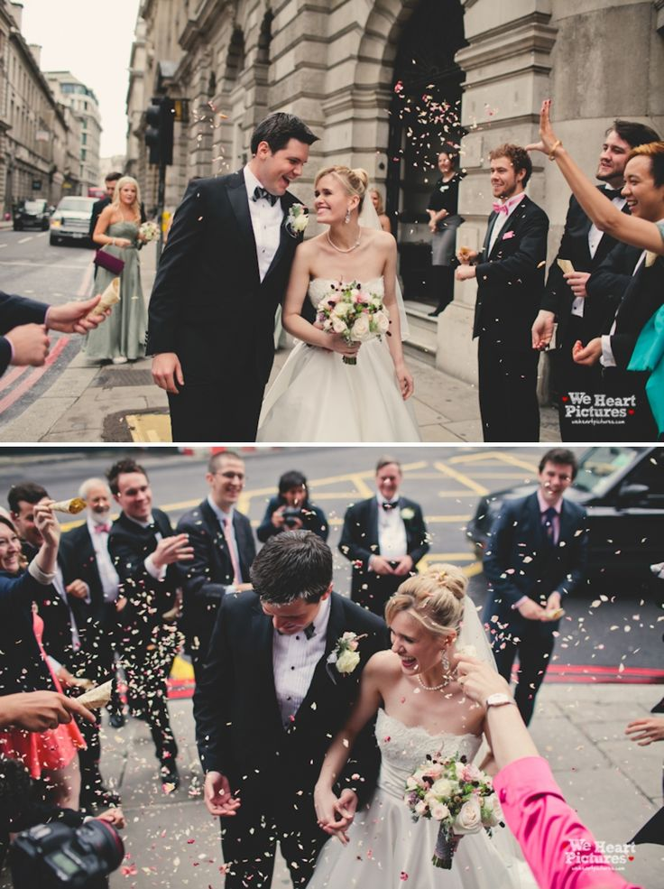 Confetti Shoot Outside London City Venue Gibson Hall