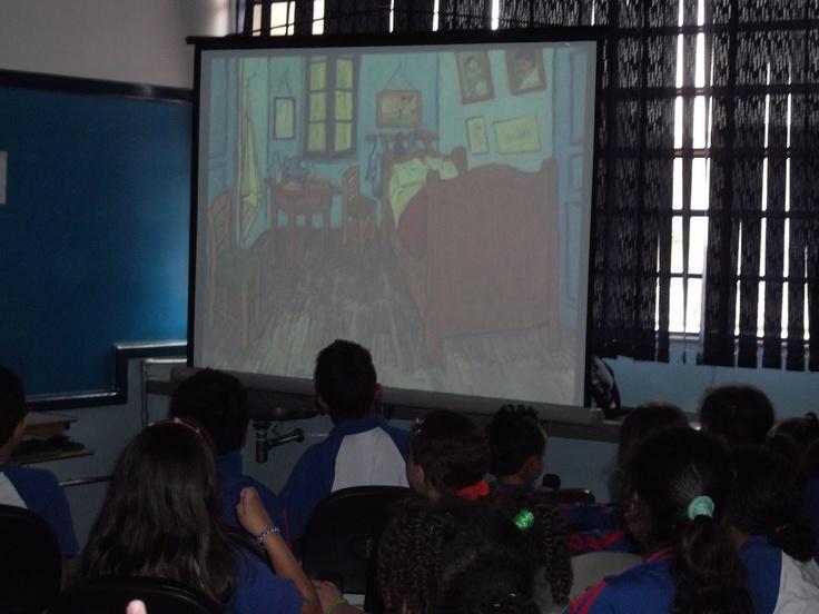 Aula de artes com obras de Van Gogh na E.P.G Mário Quintana (Guarulhos/SP)