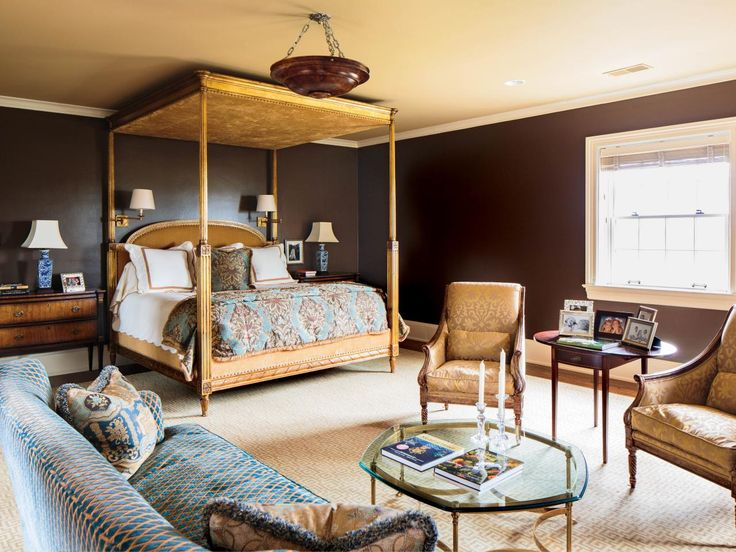 Dark Chocolate Brown Walls Instantly Create A Dramatic Backdrop For This Master Bedroom Canopy
