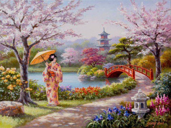 362 twitter sung kim gheisha garden 14k 14k - Japanese Garden Cherry Blossom Paintings
