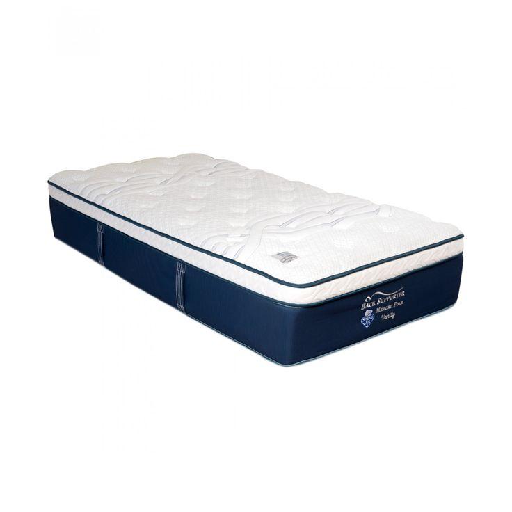 Colchón Spring Air de la línea Vanity elaborado en tejido de punto con Foam Encasement un refuerzo de poliuretano de alta densidad que brinda mayor soporte y confort de esquina a esquina otorgando un 20% más de superficie utilizable para dormir.<b>Unida