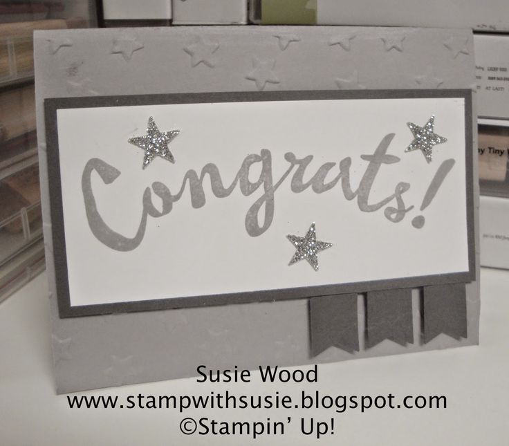 Stampin' Up!- A clean & simple card for an upcoming graduation, wedding or even a birthday!!  I love the sparkly little stars!