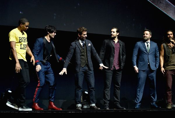 """Jason Momoa Photos Photos - (L-R) Actors Ray Fisher, Ezra Miller, director Zack Snyder, actors Henry Cavill, Ben Affleck and Jason Momoa speak onstage at CinemaCon 2017 Warner Bros. Pictures Invites You to """"The Big Picture"""", an Exclusive Presentation of our Upcoming Slate at The Colosseum at Caesars Palace during CinemaCon, the official convention of the National Association of Theatre Owners, on March 29, 2017 in Las Vegas, Nevada. - CinemaCon 2017 - Warner Bros. Pictures Invites You to…"""