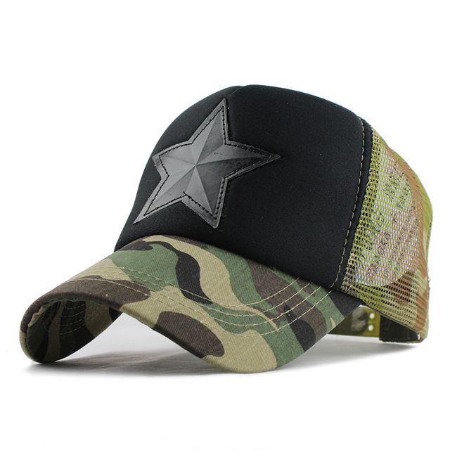 Camouflage Mesh Star Cap