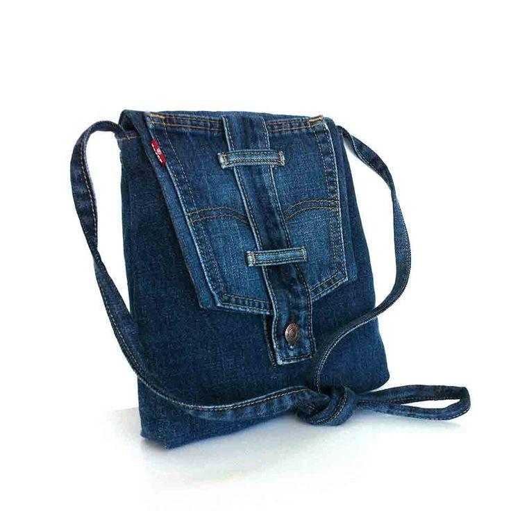 Small crossbody bag Recycled blue jean messenger bag от Sisoibags