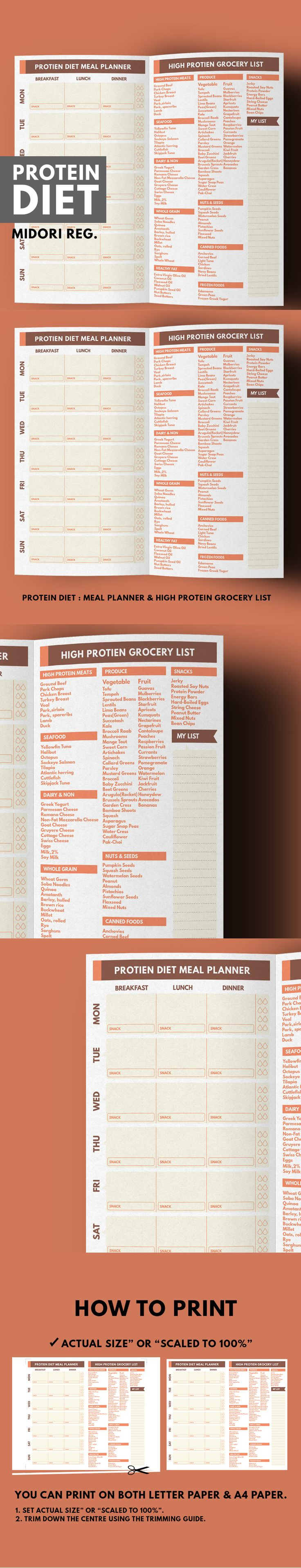 Are you on Protein Diet Plan? This is a High Protein Grocery list and Meal Planner which help your grocery shopping easier than ever! Each food categories contain list of High Protein Nutrient and also Low Carb and Low Calories too!  You can plan your menu before go shopping by Meal Planner on the left page while consider the grocery list of high protein nutrient on the right page