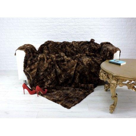 Real mink fur throw blanket