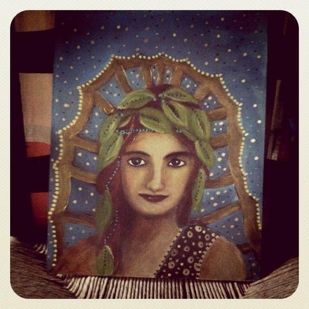 Портрет цыганской женщины в виде иконы