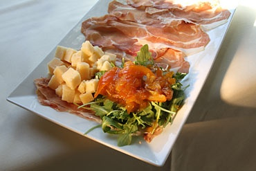 a great appetizer -- the prosciutto, aged cheese and marmalade platter.