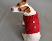 Knitted Blue Dog Sweater / Dog Coat / Dog Costume / Dog clothes / gift / dog fashion  / em. $35.00, via Etsy.