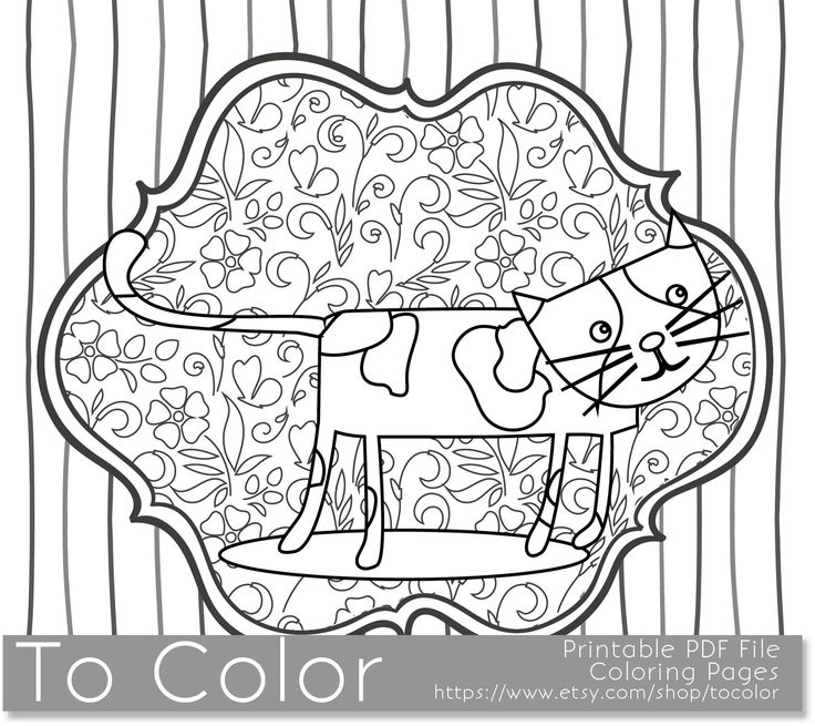 Printable Whimsical Cat Coloring Page For Adults Pdf Jpg Coloring