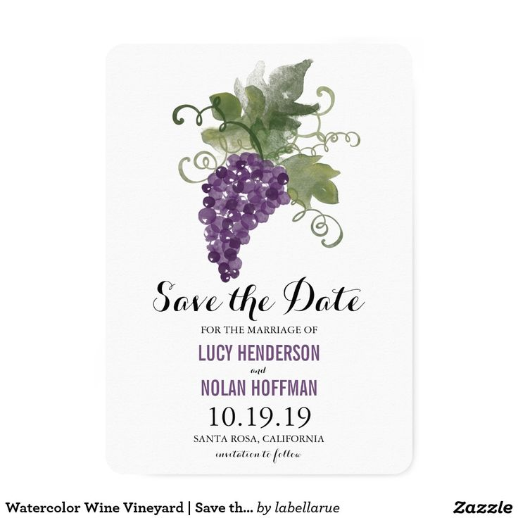Watercolor Wine Vineyard | Save the Date Card FROM THE WEDDING COLLECTION WATERCOLOR WINE VINEYARD: Watercolor artwork of a Grape Vine simply placed top center for your Wine Vineyard Wedding Save the Date Announcement. If you would like a color change on this design please email paula@labellarue.com BEFORE ordering and I'll create a new design for you.Check for the Wedding Suite, INVITATION, RSVP, RECEPTION and GUEST SEATING Cards to match!