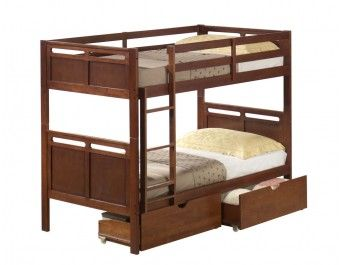 Hardwood Slotted Bunk Bed Walnut - FREE Drawers by Donco