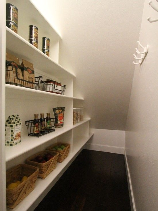 Under stairs closet idea.shelves on one side, hooks (for coats,handbag) on  the other