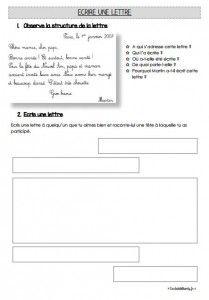 Production d'écrit CE1 Ecrire une lettre