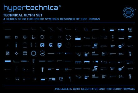 hypertechnica glyph set | a series of 88 futuristic symbols designed by Eric Jordan | PLAT4M - The Official Blog of 2Advanced Studios