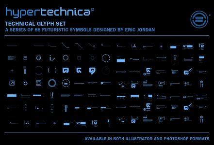 hypertechnica glyph set | a series of 88 futuristic symbols designed by Eric Jordan | PLAT4M - The Official Blog of 2Advanced Studios