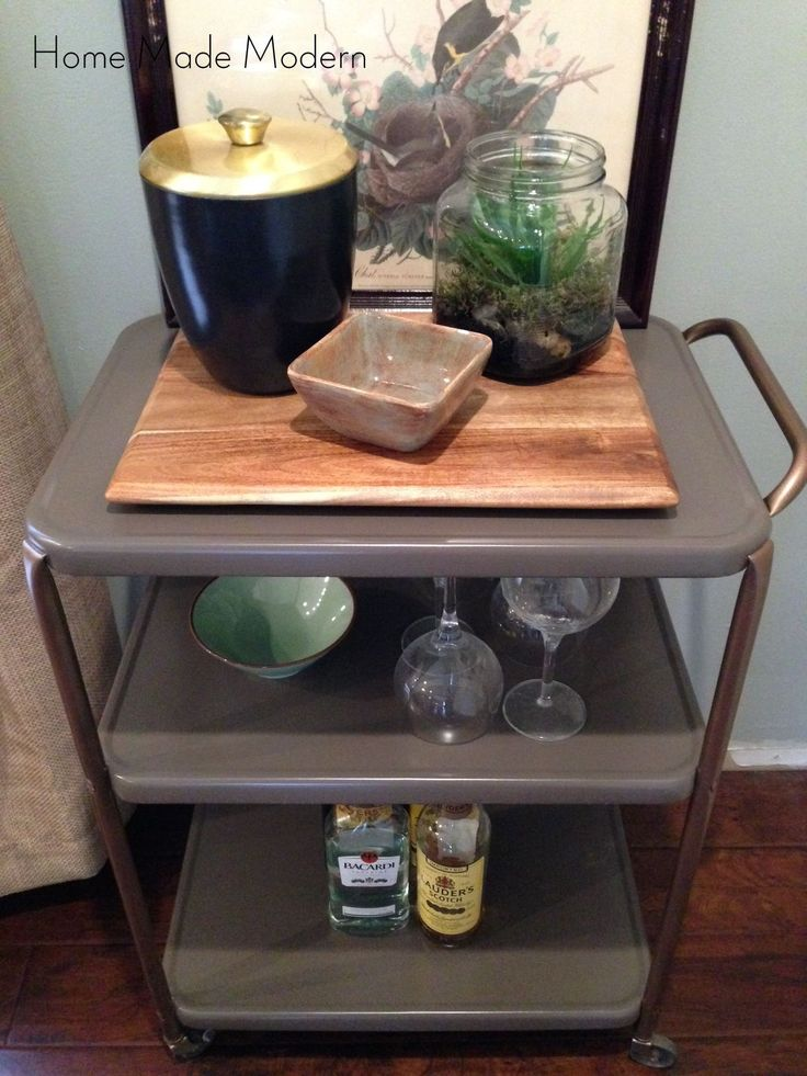 Rescue an old utility cart by transforming it into a stylish bar cart with mid-century modern flair.