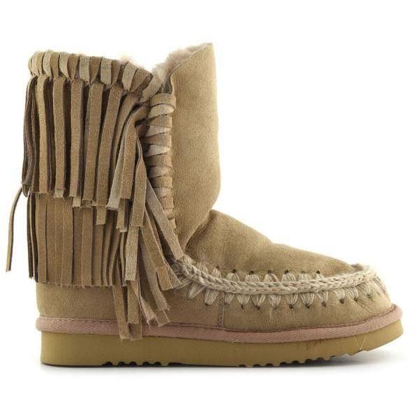 MOU Eskimo Fringe Short Boots Camel - MOU