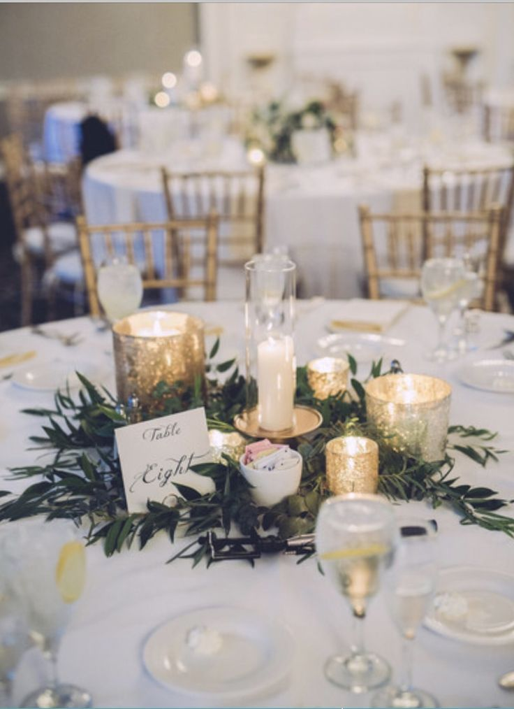 Simple Centerpieces With Greenery And Gold Mercury Glass Candles Wedding Centerpieces Wedding Table Settings Wedding Table