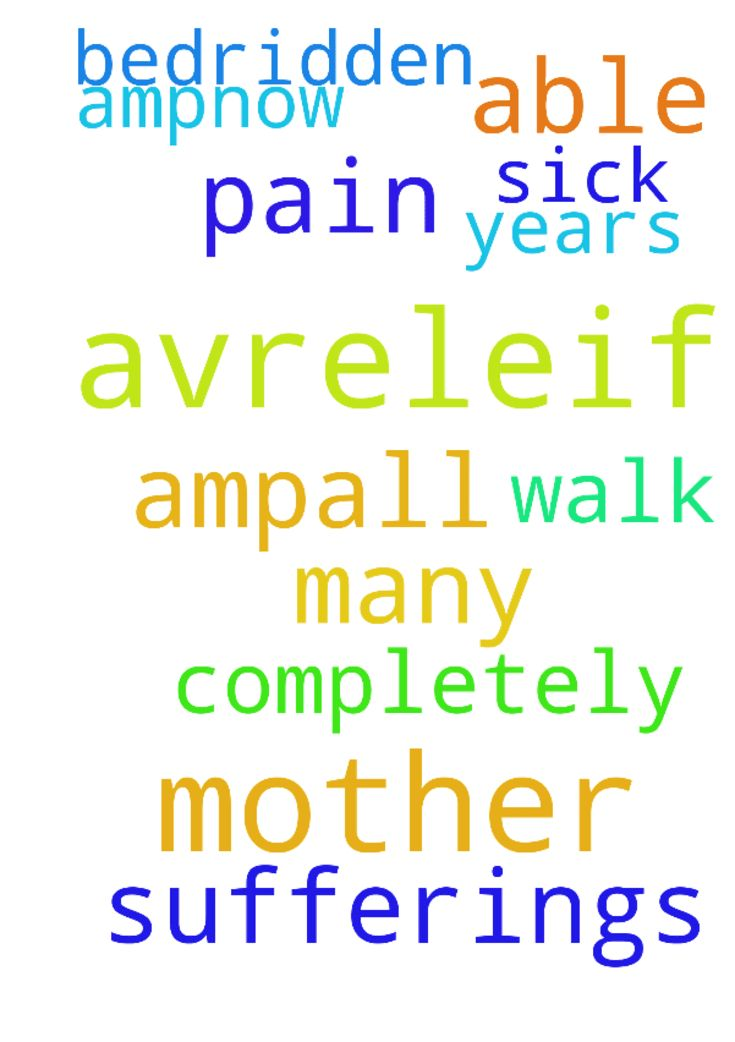 God help my mother to get avreleif from - God help my mother to get avreleif from her pain amp;all sufferings .She is sick ,not able to walk for many years amp;now completely bedridden. Posted at: https://prayerrequest.com/t/TdT #pray #prayer #request #prayerrequest