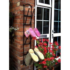 Black Wall-Mounted Welly Boot Rack - Cast Iron Metal Wellington Boot Rack for 3 Pairs - Amazon.co.uk