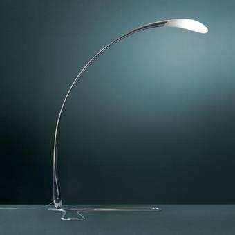 Floor lamp in polished aluminium manufactured with hydroforming technology; Flora by Fontana Arte.