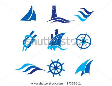 Wind and wave symbols Nautical logos and icons - stock vector