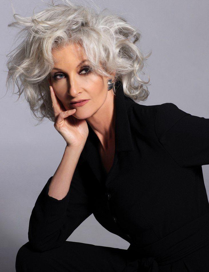 Silver grey hair. Gray hair. Short hair.