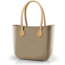 O bag Classic in Sand with Natural Long Faux Leather Handles